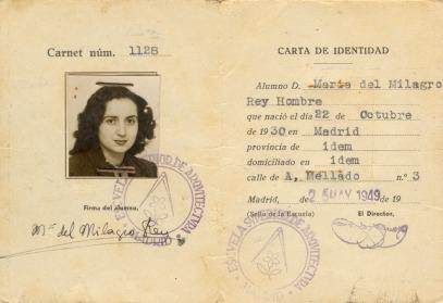 Milagros Rey; Carnet de estudiante ETSAM, Madrid, 1948- 1949.
