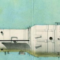 Galina Balashova. Estación espacial MIR-diseño gráfico armazón, 1980.